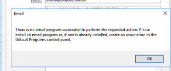 MYOB AccountRight - \u0027There is no email program associated to perform