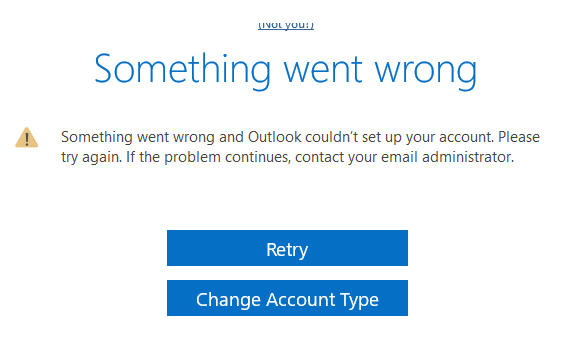 0x8004011c or Something went wrong on Outlook 2016